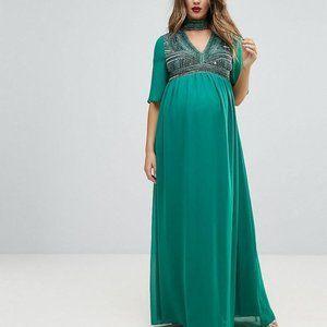 new asos embellished v neck maxi dress 12 maternit